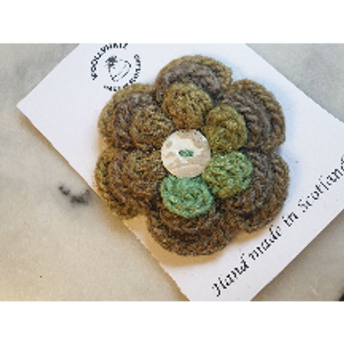 Crocheted Flower Brooch - Moss