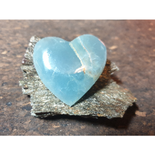 Aquatine Lemurian Calcite Heart