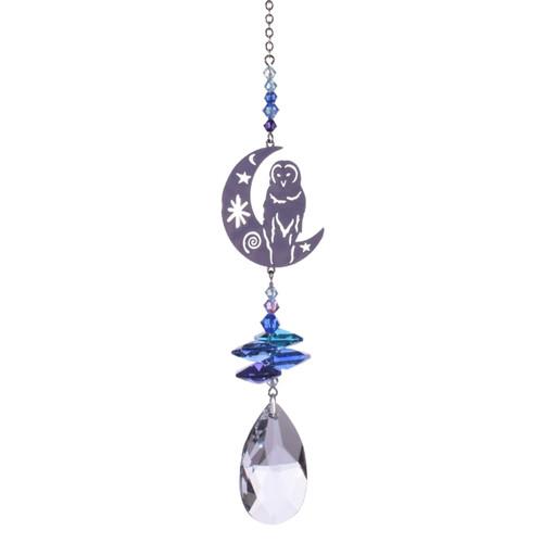 Crystal Fantasy - Barn Owl on Moon (Moonlight)
