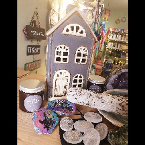 Ceramic House Tealight Holder (Grey)