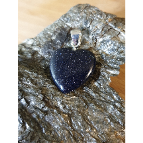 Blue Goldstone Heart Pendant (25mm)