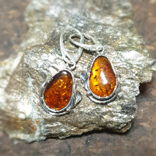 Amber Earrings with Lily Detail