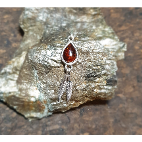 Brown Amber Pendant with Feather Detail