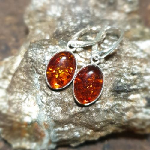 Brown Amber Oval Drop Earrings