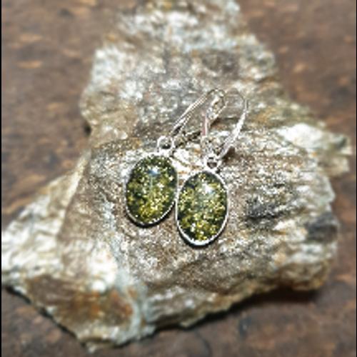 Green Amber Oval Drop Earrings