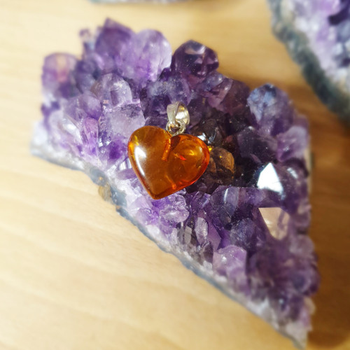 Small Amber Heart Pendant