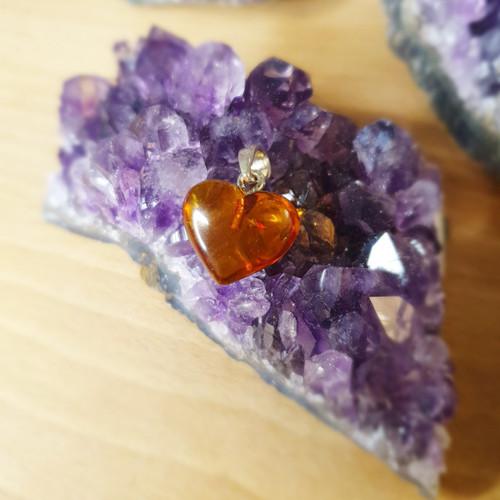 Small Amber Heart Pendant