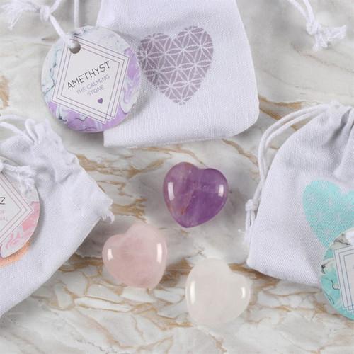 Crystal Heart in Bag (Rose Quartz)