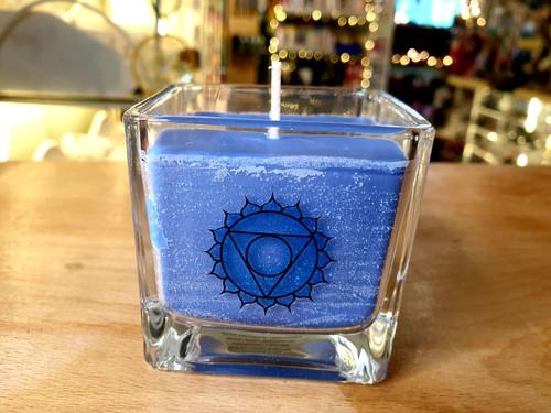 Chakra Glass Candle - Throat Chakra