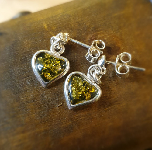 Green Amber Heart Earrings