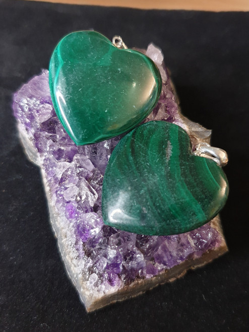 Crystal Heart Pendant - Malachite