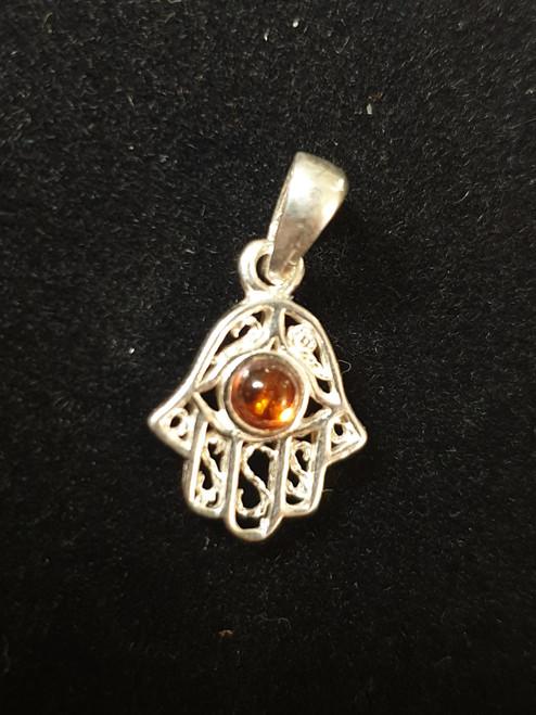 Small Hamsa Hand Amber Pendant