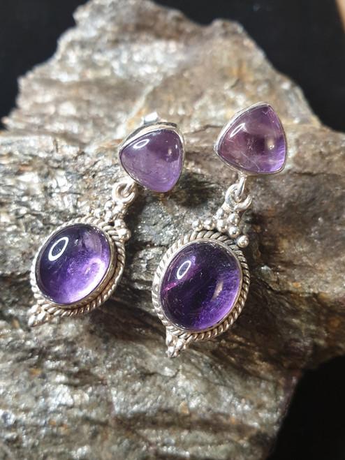 Double Amethyst Drop earrings