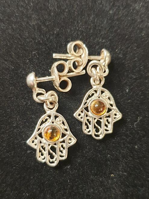 Small Hamsa Hand Amber Earrings