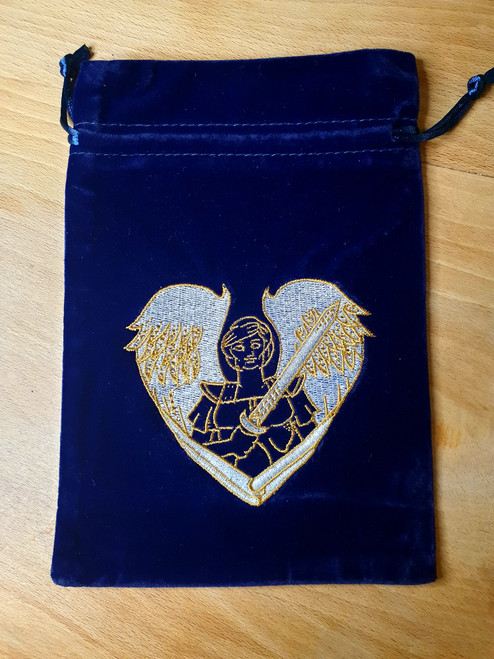 Tarot Pouch - Dark Blue with Archangel Michael