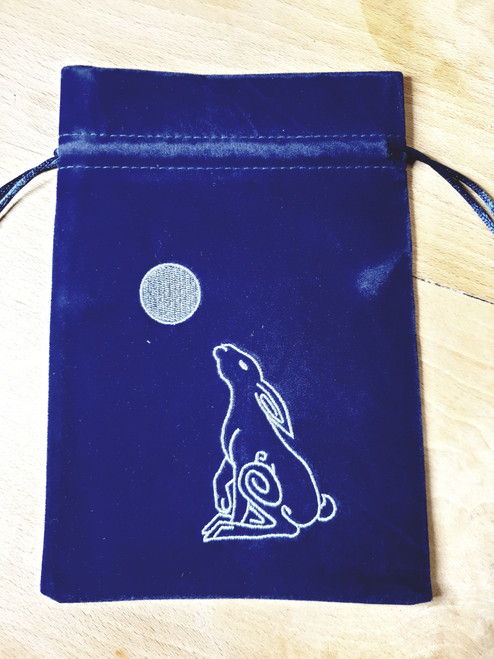 Tarot Pouch - Dark Blue with Moon Gazing Hare