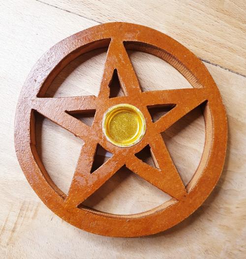 Wooden Cut-out Pentagram Incense Cone Holder