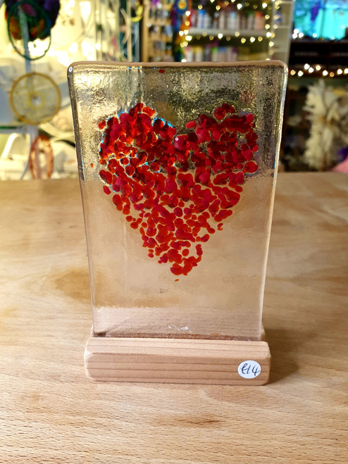 Glass Art Stand - Red Heart 2