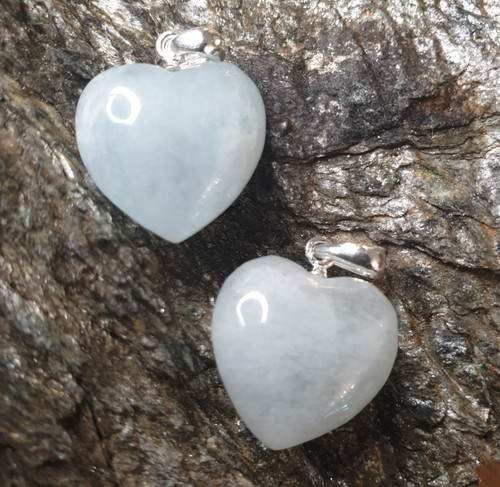 Crystal Heart Pendant - Aquamarine