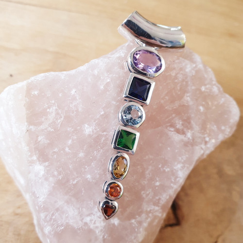 Silver and Gemstone Chakra Pendant