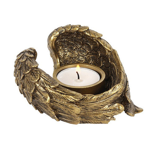 Antique Gold Angel Wings Tealight Holder