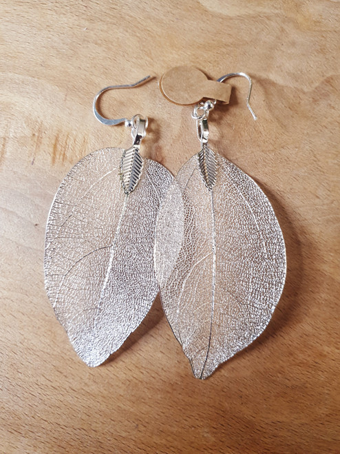 Leaf Earrings (Silver Colour)