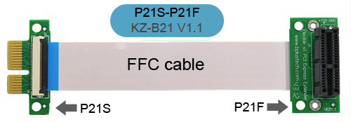 P21S-P21F (Flexible x1 PCI Express Extender)