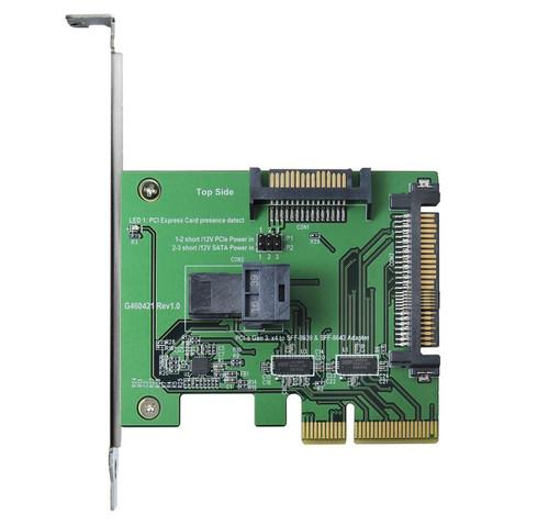 PCIe Gen 3, 4 Lanes to mini SAS HD & U.2 adapter with PCIe Bracket