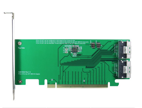 PCIe Gen3 16-lane to two SlimSAS 8-Lane (SFF-8654 8i) Adapter