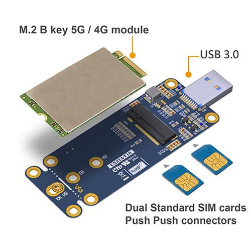 UN32A M.2 B Key 5G / 4G / LTE Card to USB 3.0 Adapter