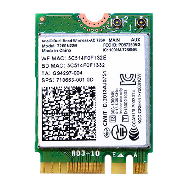 7260NGW (Intel® Dual Band Wireless-AC 7260 802.11ac, Dual Band, 2x2 Wi-Fi + Bluetooth 4.0*)