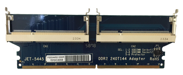 JET-5445 DDR2 DIMM to Dual 144pin SODIMM (32bit) adapter
