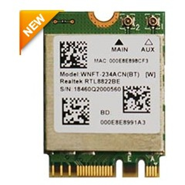 WNFT-234ACN(BT) 802.11ac/a/b/g/n WiFi M.2 Module, Realtek RTL8822BE, 2T2R