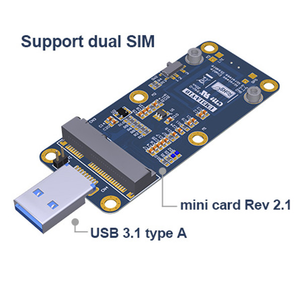 UM31A mini card Rev 2.1 4G / 5G module to USB 3.1 Adapter