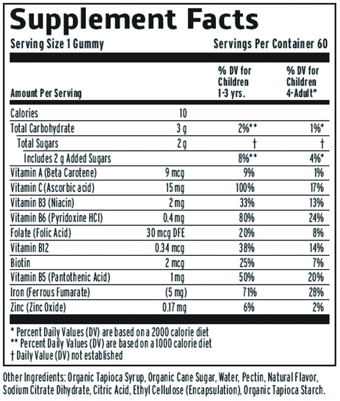 Vitamin Friends Kids Vegan Iron Gummies Supplement Facts