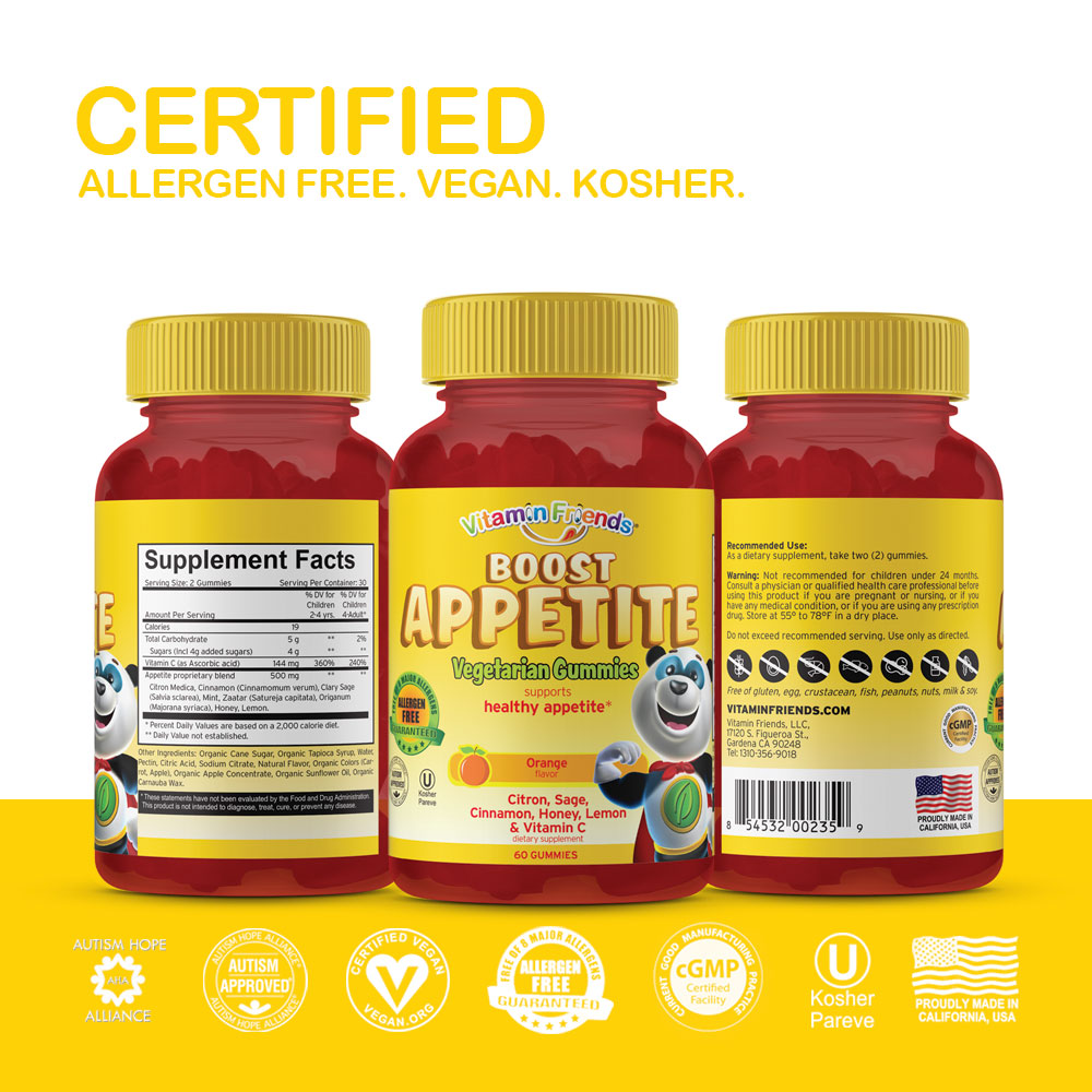 Vitamin Friends Kids Vegan Boost Appetite Gummies are Certified Allergen Free, Vegan, Organic and Kosher
