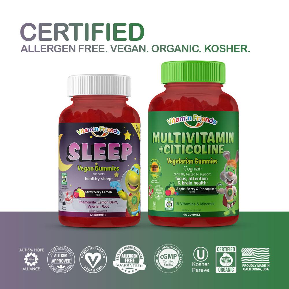 Vitamin Friends Breakfast then Bed Bundle is Certified Allergen Free, Vegan, Organic and Kosher