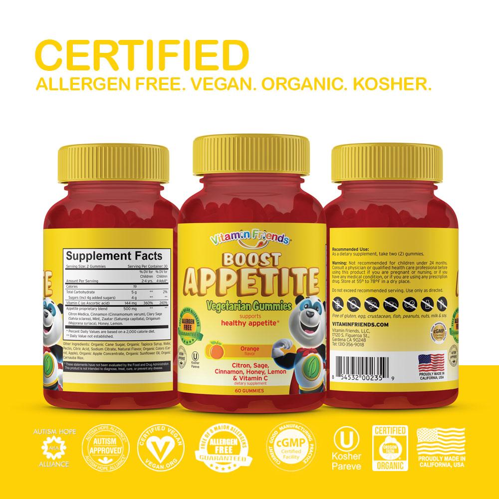 Vitamin Friends Kids Vegetarian Boost Appetite Gummies are Certified Allergen Free, Vegan, Organic and Kosher