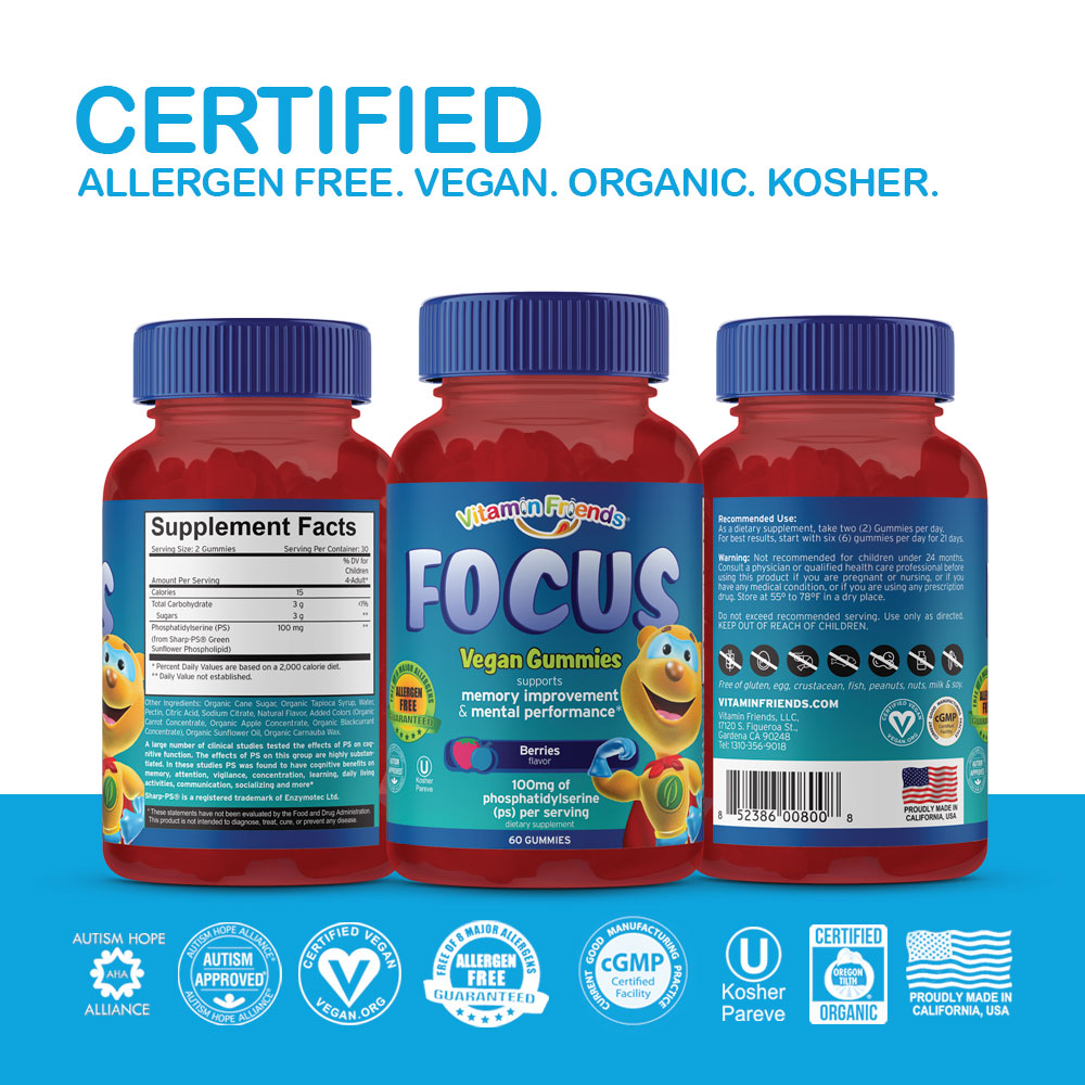 Vitamin Friends Kids Vegan Focus Gummies are Certified Allergen Free, Vegan, Organic and Kosher