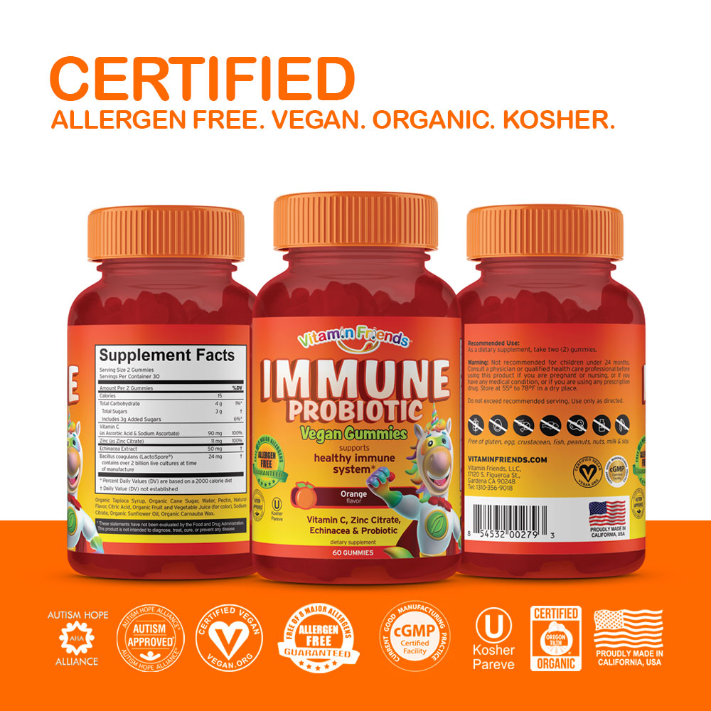Vitamin Friends Immune Gummies are Certified Allergen Free, Vegan, Organic and Kosher