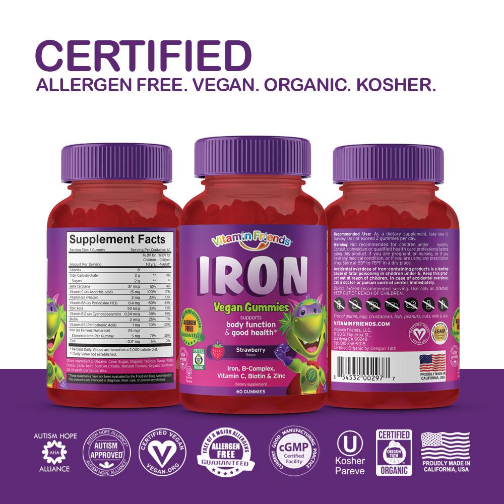 Vitamin Friends Kids Vegan Iron Gummies are Certified Allergen Free, Vegan, Organic and Kosher