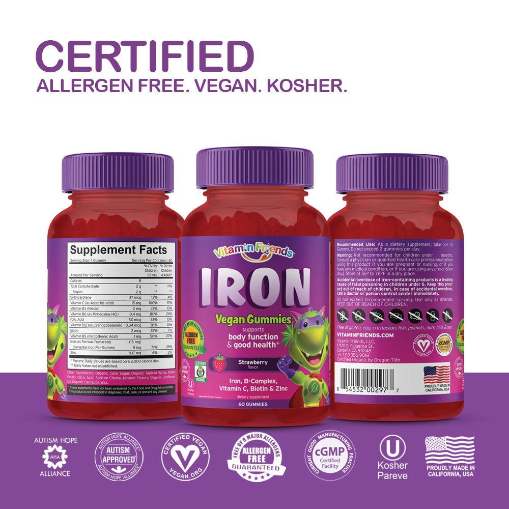 Vitamin Friends Kids Vegan Iron Gummies are Certified Allergen Free, Vegan, Organic and Kosher