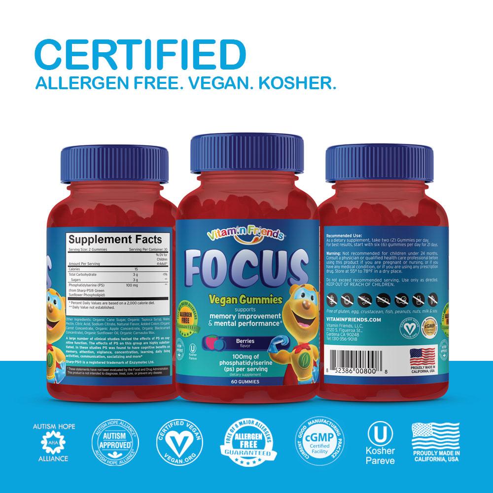 Vitamin Friends Kids Vegan Focus Gummies are Certified Allergen Free, Vegan, and Kosher