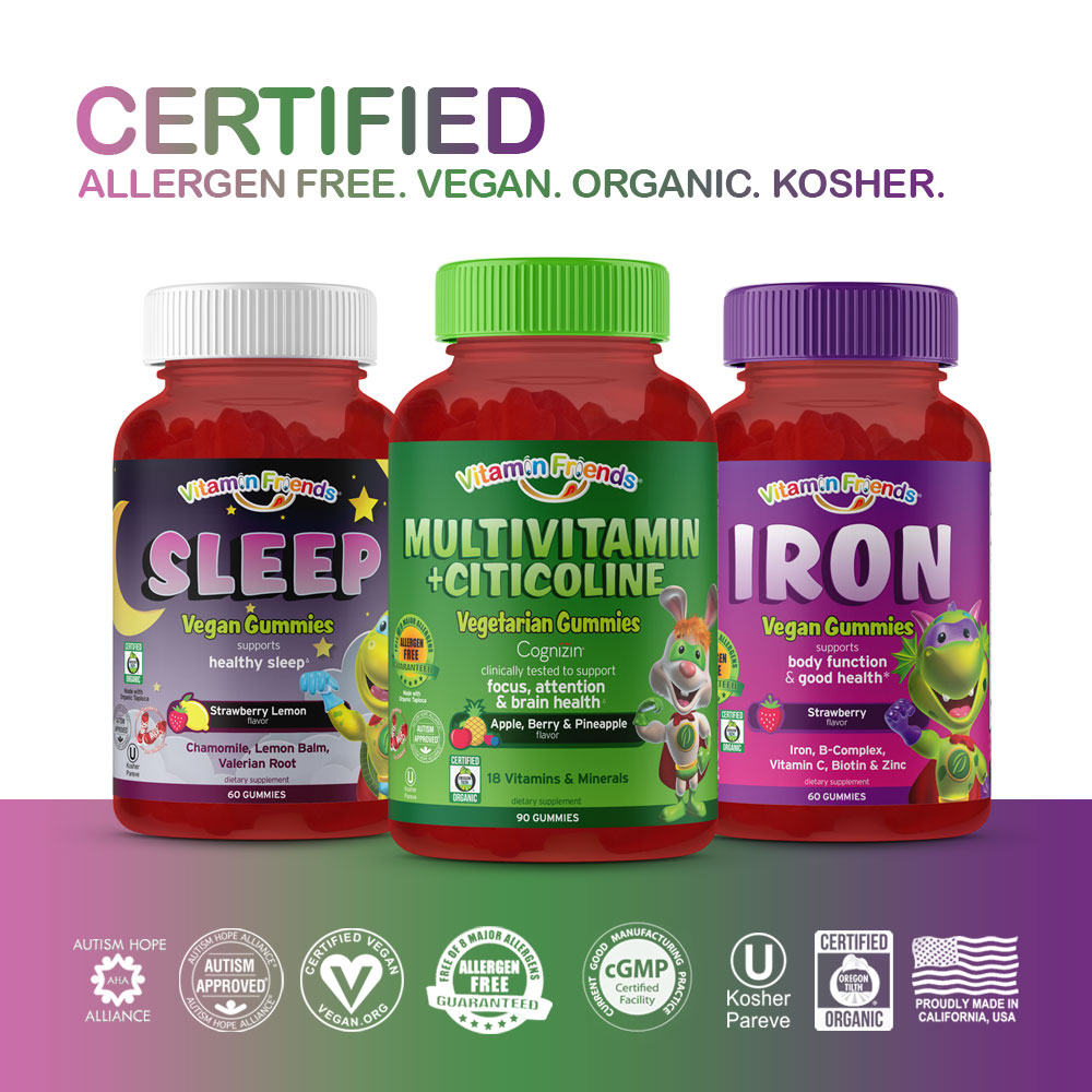 Vitamin Friends Got You Covered Bundle is Certified Allergen Free, Vegan, Organic and Kosher