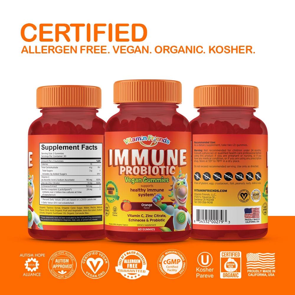 Vitamin Friends Immune Gummies are Certified Allergen Free, Vegan, Organic and Kosher