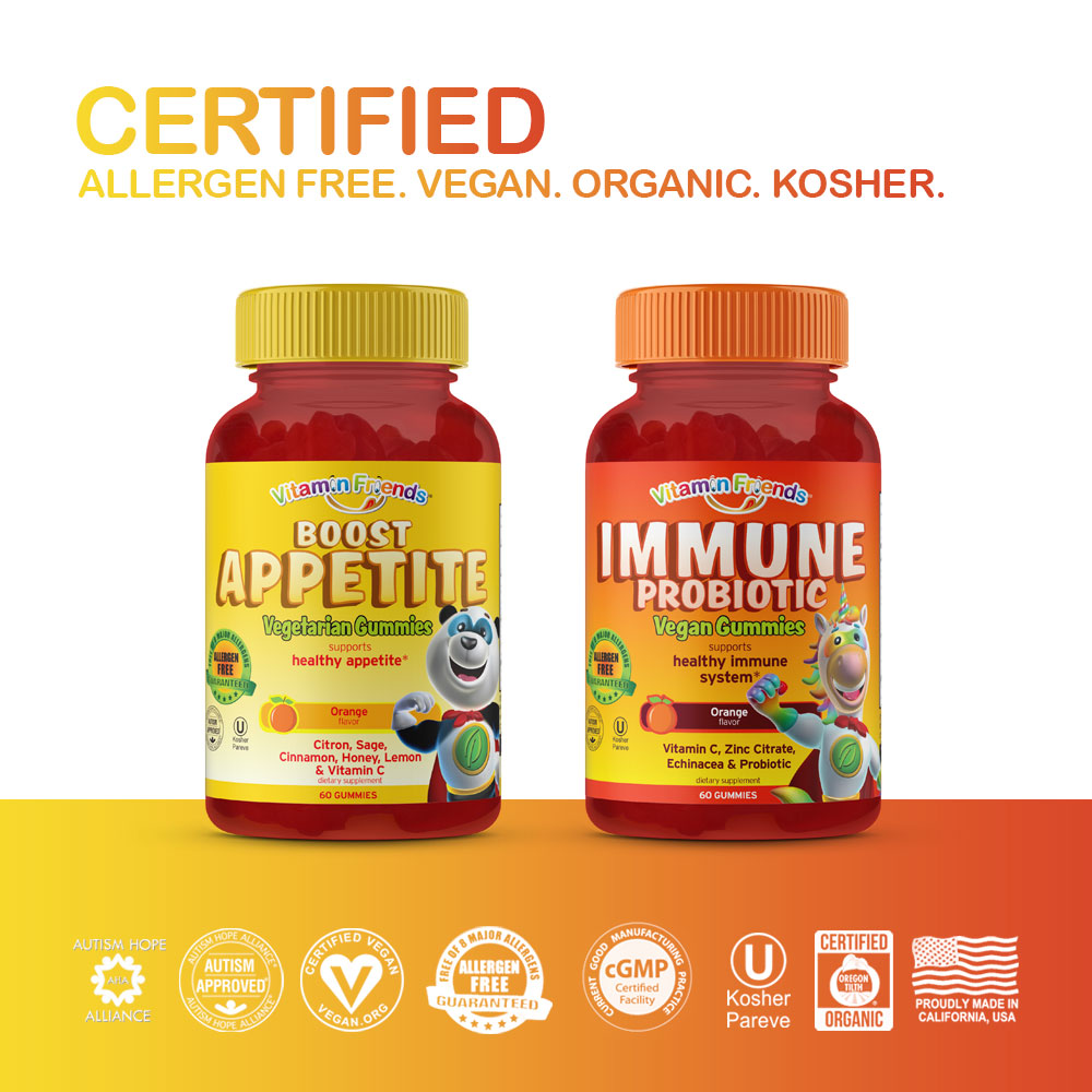 Vitamin Friends Tummy Trouble Bundle are Certified Allergen Free, Vegan, Organic and Kosher