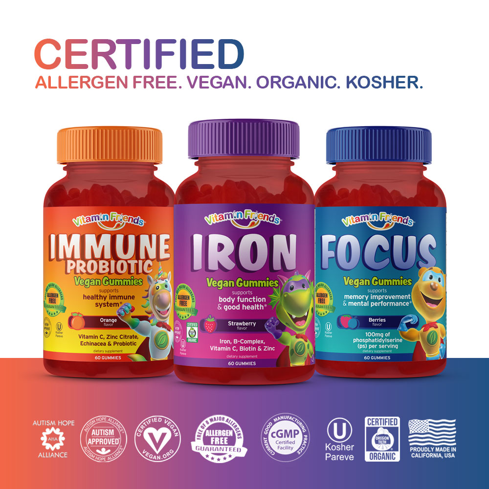 Vitamin Friends Little Ones Classics Bundle is Certified Allergen Free, Vegan, Organic and Kosher