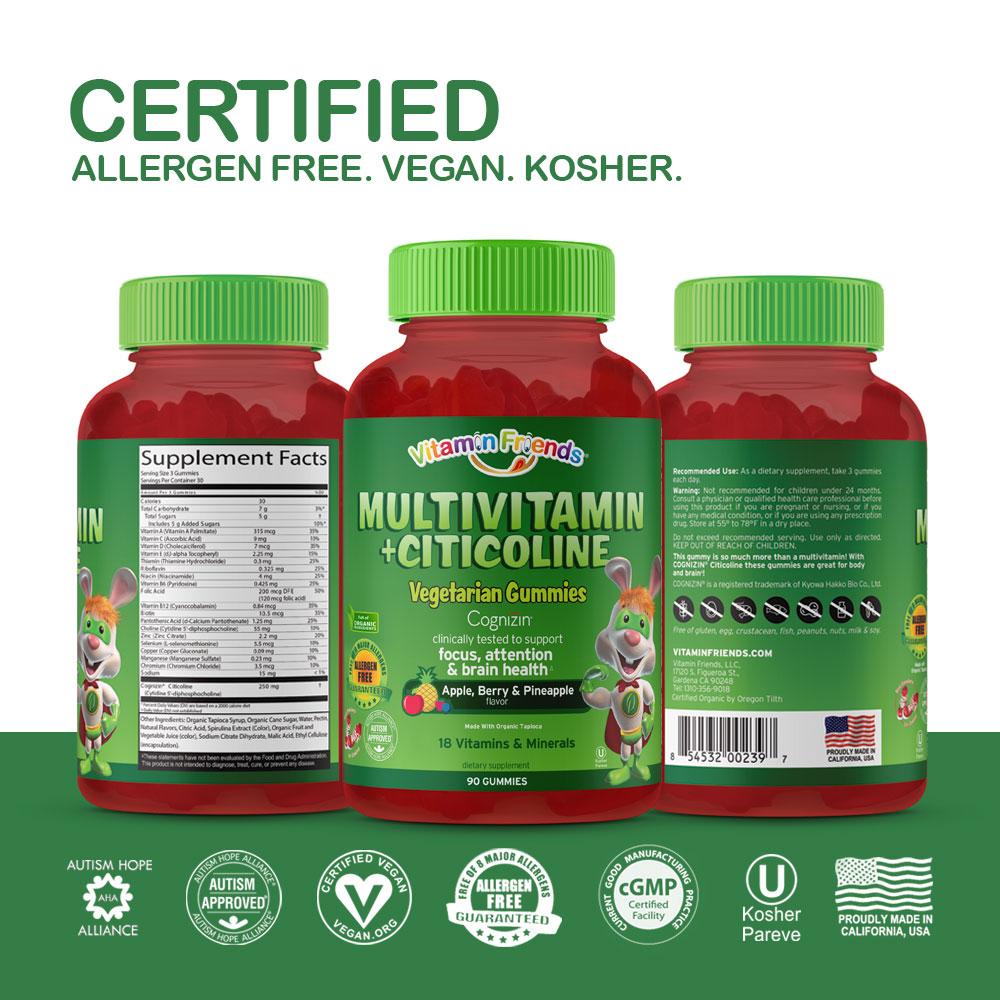 Vitamin Friends Kids Vegetarian Multivitamin+Citicoline Gummies are Certified Allergen Free, Vegetarian, Organic and Kosher