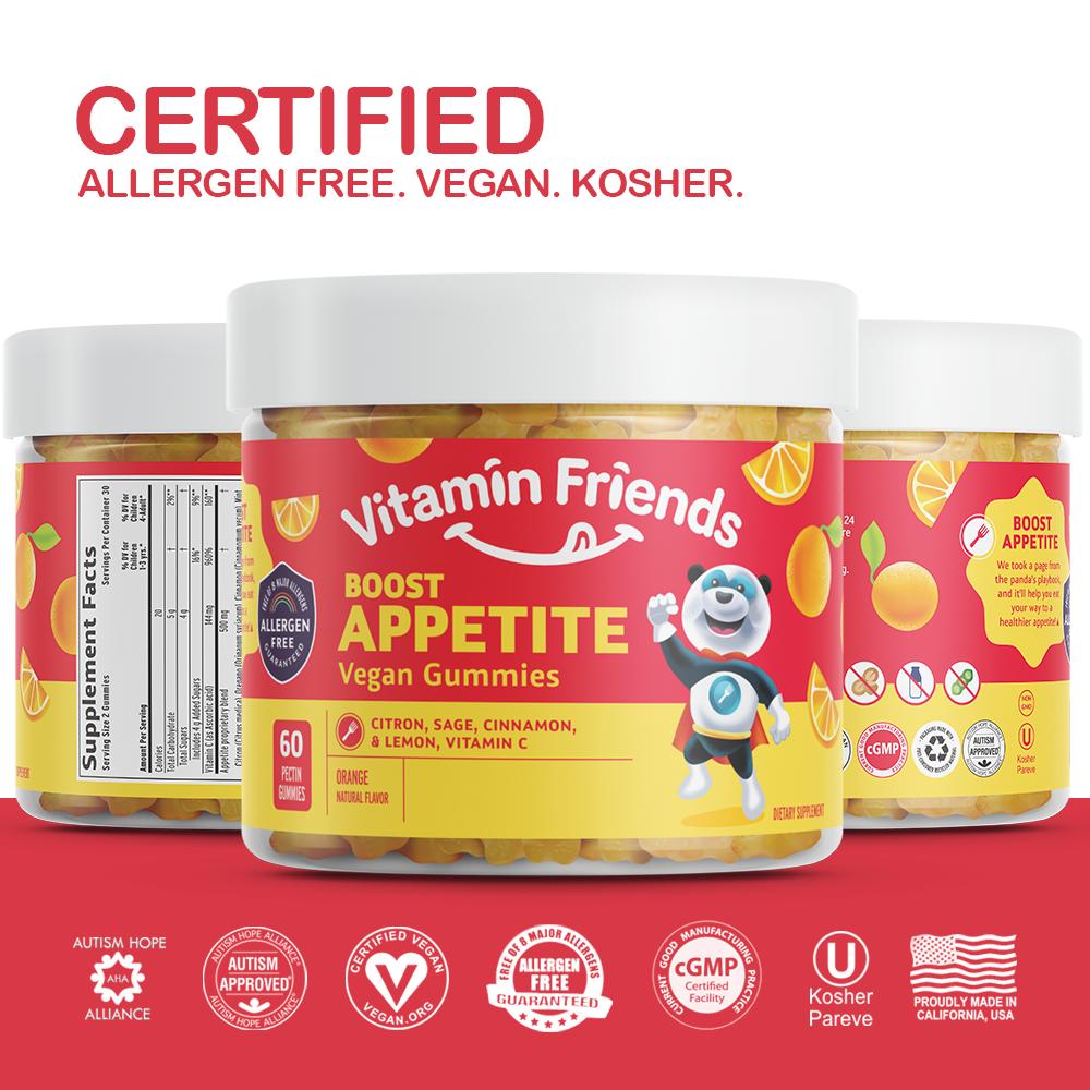 Vitamin Friends Kids Vegan Boost Appetite Gummies are Certified Allergen Free, Vegan, Organic and Kosher