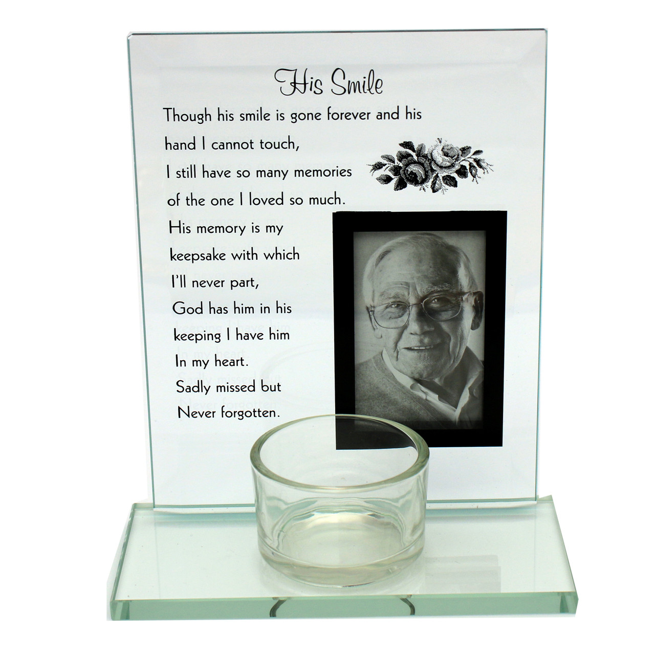 Glass Tea Light Memorial Candle Holder With A Space For A Photo Of